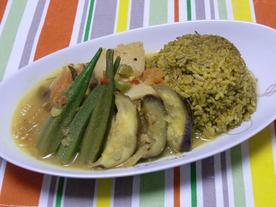 しょっつる風味の豚角煮の夏野菜カレー